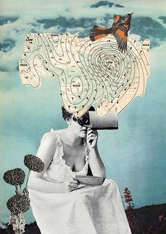 ⌼ Artistic Assemblages ⌼ Mixed Media, Journal, Shadow Box, Small Sculpture & Collage Art - Collage by Angelica Paez | Forecast, 2009.