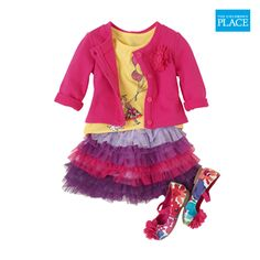 Style her adorable with a bubble sleeve tee and ombre tutu skirt | The Children's Place #Kidfashion #OOTD #BabyGirl