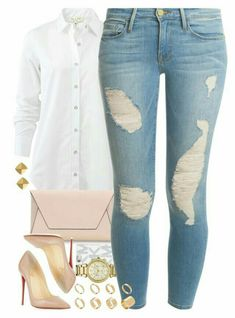 A fashion look from March 2016 featuring rag & bone blouses, Frame Denim jeans and Christian Louboutin pumps. Browse and shop related looks. Look Fashion, Fashion Models, Autumn Fashion, Fashion Outfits, Womens Fashion, Fashion Trends, Fashion Inspiration, Classy Outfits, Stylish Outfits