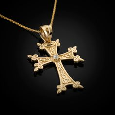 Gold Armenian Apostolic Cross Diamond Charm Necklace