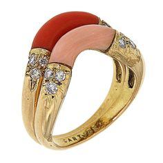 1960s Cartier Diamonds Coral Gold Rings | From a unique collection of vintage more rings at https://www.1stdibs.com/jewelry/rings/more-rings/