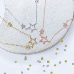 Wish Upon a Star Delicate triple star necklace in sterling silver, rose gold or gold vermeil. Fully adjustable so can be worn as a choker, collar or longer.  Pair with your favourite necklaces for a layered boho look#jewellery #jewelry #star #necklace #silver #gold #wedding #boho #three #rosegold #christmas