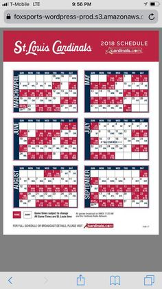 image about St Louis Cardinals Printable Schedule titled 12 Great Cardinals Video game visuals within just 2017 Meals, Cooking