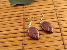 Leaf shaped polymer earrings.