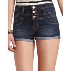 "Charlotte Russe Refuge ""Hi-Waist Shortie"" Cuffed Denim Shorts ($7.49) ❤ liked on Polyvore featuring shorts, bottoms, short, dark wash denim, short jean shorts, short shorts, high waisted denim shorts, jean shorts and high waisted ripped shorts"