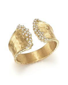 Diamond Cuff Ring in 14K Yellow Gold, .17 ct. t.w.
