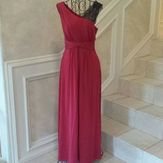 Red Evening Gown with Lace Detail This dress was only worn for a few hours.  It was professionally hemmed. Dress measures at about 52 inches in length.   No trades.   Please submit any offers though the offer option. BCBGMaxAzria Dresses Prom