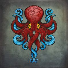 Red Octopus Art Print by Dracorubio Octopus Artwork, Octopus Drawing, Octopus Tattoo Design, Octopus Tattoos, Le Kraken, Kraken Art, Red Octopus, Octopus Print, Squid Tattoo