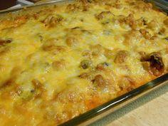 Million Dollar Casserole- Cook l lb. pasta, 1/4 c. sour cream, 8oz. cottage cheese, 4 oz. cream cheese,   1/3 c. chopped onion, 1/2 c. Parmesan cheese, 1 t. garlic salt, 1 t. pepper, 28 oz. spaghetti sauce, opt. veggies, top with cheese. Refrig overnight. 350 degrees for 45 min.