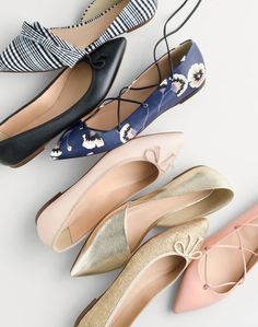 J.Crew women's Sloan plaid d'Orsay flats with bow, Gemma flats, leather lace-up ballet flats in midnight poppy, Sloan gold d'Orsay flats, Gemma glitter flats and leather lace-up ballet flats.