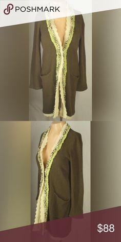 🎀Anthropologie Fielel Flower Long Cardigan🎀 Long length hidden front hook eye closures long sleeves 2 pockets contrasting chiffon trim   material: 70% cotton and 30% nylon.  Army green in color.  Can fit large. Anthropologie Sweaters Cardigans
