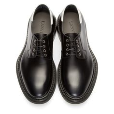 Lanvin for Men Collection Black Dress Shoes, Black Leather Shoes, Lace Up Shoes, White Leather, Men's Shoes, Derby, Mens Clothing Styles, Men's Clothing, Old Boots