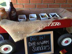 Dirt N Worms ice cream sundae bar for boy's baby shower/birthday party