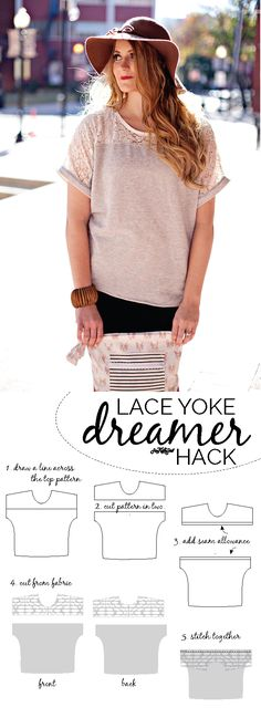 DIY Clothing & Tutorials: dreamer top hack // lace yoke top tutorial see kate sew Sewing Patterns Free, Free Sewing, Sewing Tutorials, Clothing Patterns, Sewing Lace, Sewing Projects, Diy Clothing, Sewing Clothes, Fashion Sewing