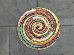 "#Art. Handmade mixed media multicolor #spiral design wall hanging. 18"" diameter"