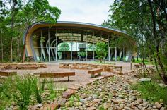 Milson Island Indoor Sports Stadium developed by Allen Jack + Cottier . Find all you need to know about Milson Island Indoor Sports Stadium products and mo Landscape Architecture, Architecture Design, Stadium Architecture, Parque Linear, Sports Stadium, Sports Complex, Terrace Garden, Pergola, Indoor