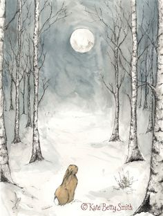 Winter Moon Dip Pen & Ink and Watercolour by Kate Betty Smith www.katebettysmith.com