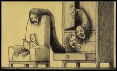 John Kenn Mortensen, who goes by the name Don Kenn, is a Danish artist who draws disturbing monster pictures using only sticky notes as his canvas. Art And Illustration, Illustrations, Magazine Illustration, Arte Horror, Horror Art, Monster Drawing, Monster Art, Creepy Drawings, Art Drawings