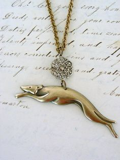 Greyhound Dog Art Deco Necklace Vintage by chloesvintagejewelry, $28.00