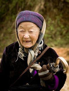 Vietnamese elderly woman, what a smile!