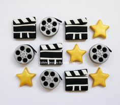 12 Edible Fondant Movie Themed Cupcake Toppers