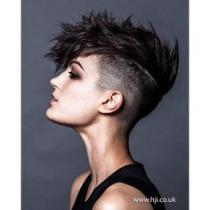 2015 women's black undercut mohawk ❤ liked on Polyvore featuring hair