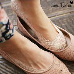 RESTOCKED! Lace-Trimmed Footie Socks by Jane Divine Boutique www.janedivine.com