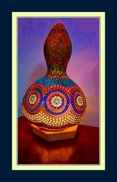 FREE SHIPPING Authentic Gourd Lamp Handcrafted one of a kind Folk Art of light unique Gift -Lampe de Zucca Kalabasse Lamp by GourdLampCollection on Etsy