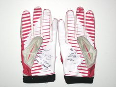a52eb222a Garrett McIntyre 2013 New York Jets Game Worn   Signed Pink   White Breast  Cancer Awareness Nike Superbad Gloves