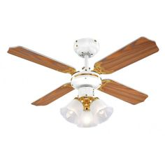 MiniSun White & Brass Modern Ceiling Fan with 3 Lights & Oak/White Reversible Blades Brass Ceiling Fan, 3 Blade Ceiling Fan, Ceiling Lights, Modern Ceiling, Extractor Fans, Shops, Ceiling Fan With Remote, Light Oak, Home Additions
