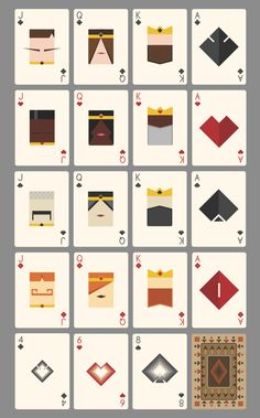 Light Roast is a minimalist deck of poker playing cards that sticks to basic geometry and avoids curves. You can back the project by clicking on the image! Diy Playing Cards, Custom Playing Cards, Playing Card Games, Custom Cards, Playing Card Design, Game Card Design, Board Game Design, Tech Deck, Basic Geometry