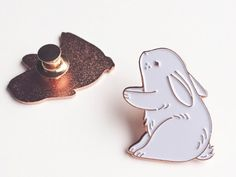 Bunny Enamel Pin - Wild Charms: illustrated cute animal pin badges / rose gold, white