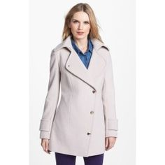 Calvin Klein Asymmetrical Wool Blend Peacoat 4