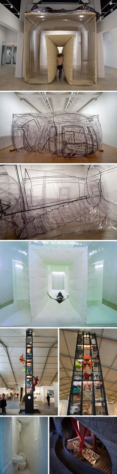 Interactive sculpture with an architecture bent, cool installations by Alex Schweder 외피로 부터 형성된 공간 - 다양하게 변형되는 재료