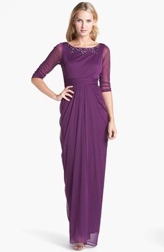 """Adrianna Papell Embellished Draped Mesh Gown available at #Nordstrom. Color is """"beet root"""" (sounds like something a gardener would love!), love the jewelry neckline, love the sleeves.  would have to try on, not sure about the high waist and full hip look (although the back view helps give some curves!)"""