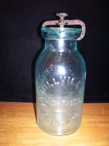 Millville Atmospheric Fruit Jar w Cast Iron Closure Patent 1861