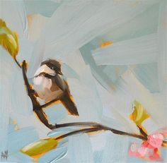 """chickadee with blossoms no. 2"" - Original Fine Art for Sale - © Angela Moulton  super cute!"