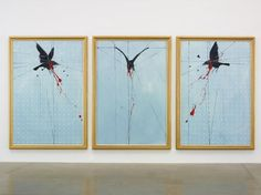 """Damien Hirst, """"Crow,"""" 2009, oil on canvas, triptych - each panel 90"""" x 60"""", photo: Prudence Cuming Associates"""