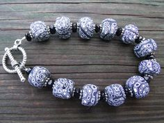Polymer Clay Bracelet Classic Black and White by clayandbeads4me, $18.00