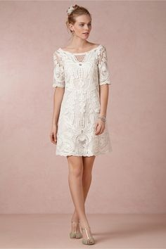 The way this lace overlay pattern is like a stunning piece of artwork. 51 Beautiful City Hall Wedding Dress Details You'll Swoon Over Wedding Dresses Under 500, Bride Reception Dresses, Bridal Dresses, Wedding Gowns, Bridesmaid Dresses, Wedding Reception, Bhldn Wedding, Lace Wedding, Dinner Dresses