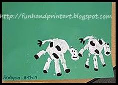 October Bulletin Board:  paint hands white an add dots of black.  Add wiggle eyes and tail once dry.  Handprint and Footprint Arts & Crafts: Cow handprint craft