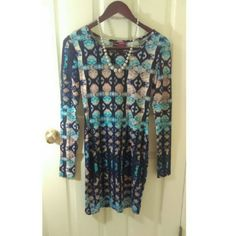 NWOT Multicolor Body Con Dress Never Worn. Beautiful Mosaic Patterned Body Con Dress. Super Soft Fabric. Size Small. Necklace Not Included. Say What Dresses