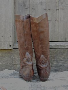 Tall Cowboy Boots / Brown Suede Cowboy Boots / Knee High Cowboy Boots / Vintage Cowboy Boots / Boho Boots / Western Boots / Leather Boots