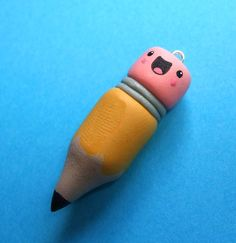 Happy Pencil Pendant Polymer Clay Charm Kawaii Jewelry - Handmade by The Happy Acorn. $20.00, via Etsy.