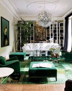 This room is too frou frou but love the green in the painting and also the green rug is pretty cool: