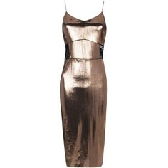 Boohoo Carolyn Metallic Fine Pleat Midi Dress | Boohoo ($35) ❤ liked on Polyvore featuring dresses, metallic dress, pleated dress, calf length dresses, midi dress and brown dresses