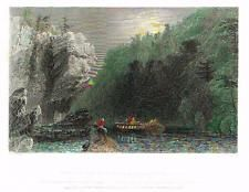 Bartlett Hand Colored Engraving - c1840 - VIEW ON THE ERIE CANAL, LITTLE FALLS