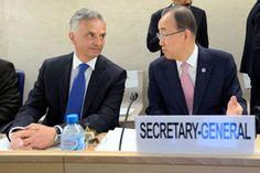 In Genf richteten Didier Burkhalter und Ban Ki-Moon den Fokus auf die Hintergründe des Terrorismus. (Keystone)