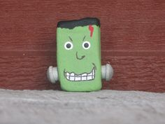 Painted rock Frankenstein pin by soapwood on Etsy, $7.00