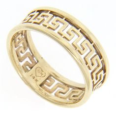 A Cutout Greek Key Design Decorates This 14k Yellow Gold Estate Wedding Band Measuring 7mm